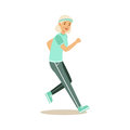 Active senior runner woman doing exercise to stay healthy, healthy active lifestyle colorful characters vector