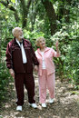 Active Seniors Walk in Woods Stock Images