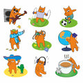 Active set red cats of cheerful Stock Images