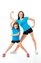Active sporty girls two little isolated on white Stock Photo