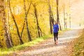 Active and sporty woman runner in autumn nature is exercising colorful Stock Image