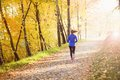 Active and sporty woman runner in autumn nature is exercising colorful Stock Photos