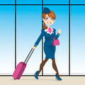 Active Stewardess Walking Stock Photo