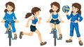 Active teenagers illustration of the on a white background Royalty Free Stock Images