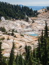 Active volcanic area in mountain valley bumpass hell a at lassen national park california Royalty Free Stock Photo