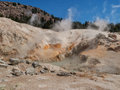 Active volcanic area in mountain valley bumpass hell a at lassen national park california Stock Images