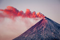 Active vulcano eruption of the at kamchatka Stock Photos