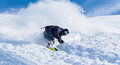Active winter holidays skiing and snowboarding in sun day Royalty Free Stock Photo