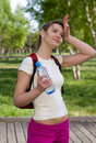 Active woman drinking water Royalty Free Stock Photo