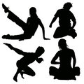 Active young silhouette Stock Photography