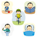 Activities of a boy Royalty Free Stock Photo