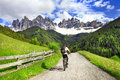 Activities in dolomites north of italy alpine Royalty Free Stock Photo