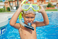 Activities on the pool cute boy in swimming Royalty Free Stock Image
