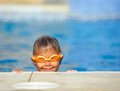 Activities on the pool cute boy in swimming Royalty Free Stock Photo