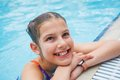Activities on the pool cute girl in swimming Royalty Free Stock Image