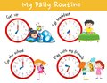 Activity chart showing different daily routine of kids Royalty Free Stock Photo