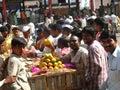 Activity in the fruit market during mango season Royalty Free Stock Photo