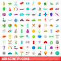 100 activity icons set, cartoon style
