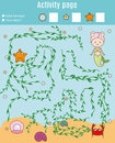 Activity page for kids. Educational game. Maze and counting game. Help mermaid find pearl. Fun for preschool years children