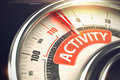 Activity - Text on Conceptual Compass with Red Needle. 3D. Royalty Free Stock Photo