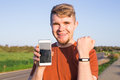 Activity tracker on a man`s wrist Royalty Free Stock Photo