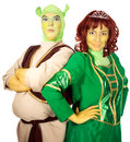 Actor and actress wearing as Shrek and Fiona Royalty Free Stock Image