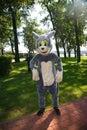 Actor animator in costume doll cartoon gray cat Tom  ` Tom and Jerry ` Studio Metro-Goldwyn-Mayer . Royalty Free Stock Photo