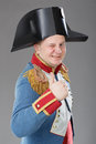 Actor dressed as napoleon historical costume Royalty Free Stock Photography