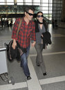 Actors Josh Brolin and Diane Ladd at LAX Stock Photography