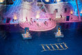 Actors perform at swimming pool moscow jan of sports complex olympyisky during music show for children and parents through the Royalty Free Stock Images