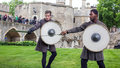 Actors in Shakespeare Open Air Theater. Sword and Shield Royalty Free Stock Photo