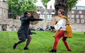 Actors Sword Fight. Shakespeare Open Air Theater Royalty Free Stock Photo
