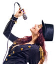 Actress with microphone Royalty Free Stock Photos