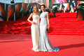 Actress olga kabo at moscow film festival in blue dress with her daughter xxxv international red carpet opening ceremony taken on Royalty Free Stock Photos