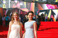 Actress olga kabo at moscow film festival in blue dress with her daughter xxxv international red carpet opening ceremony taken on Stock Image