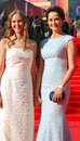 Actress olga kabo at moscow film festival in blue dress with her daughter xxxv international red carpet opening ceremony taken on Stock Photography