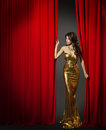 Actress Opening Red Cinema Curtain, Woman Gold Dress Royalty Free Stock Photo