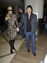 Actress Paris Hilton&boyfriend at LAX airport, CA Royalty Free Stock Photo