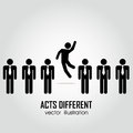 Acts different one person acting in a group on people on white background Stock Images