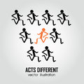 Acts different person running in the same direction and one running in direction Royalty Free Stock Images