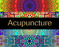 Acupuncture alternative therapy design with colorful mandalas and golden fonts Royalty Free Stock Images