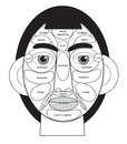 Acupuncture areas on the face in black and white
