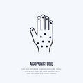 Acupuncture flat line icon, logo. Vector illustration of hand for traditional treatment, alternative medicine center