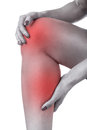 Acute pain in knee woman having isolated on a white background Royalty Free Stock Photos