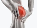 Acute pain in knee woman having isolated on a white background Royalty Free Stock Photo