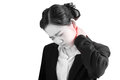 Acute pain and sore throat symptom in a businesswoman isolated on white background. Clipping path on white background. Royalty Free Stock Photo