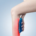 Acute pain in sword a woman woman holding hand to spot of aches Stock Photos