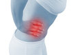 Acute pain in a woman abdomen Royalty Free Stock Images