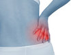 Acute pain in a woman back Stock Photo