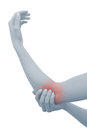 Acute pain in a woman elbow.